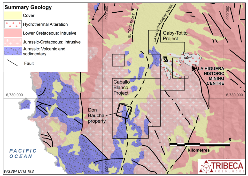Figure 1: Location of the Don Baucha project licence and summary geology of the La Higuera district (modified after SERNAGEOMIN 1:100,000-scale mapping).